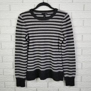 Aqua Striped Cashmere Sweater M Gray
